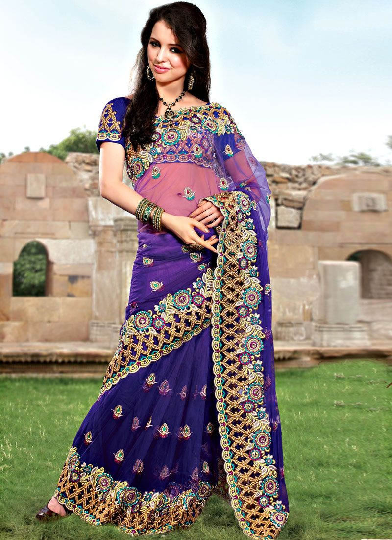 Exclusive Work Purple Net Saree