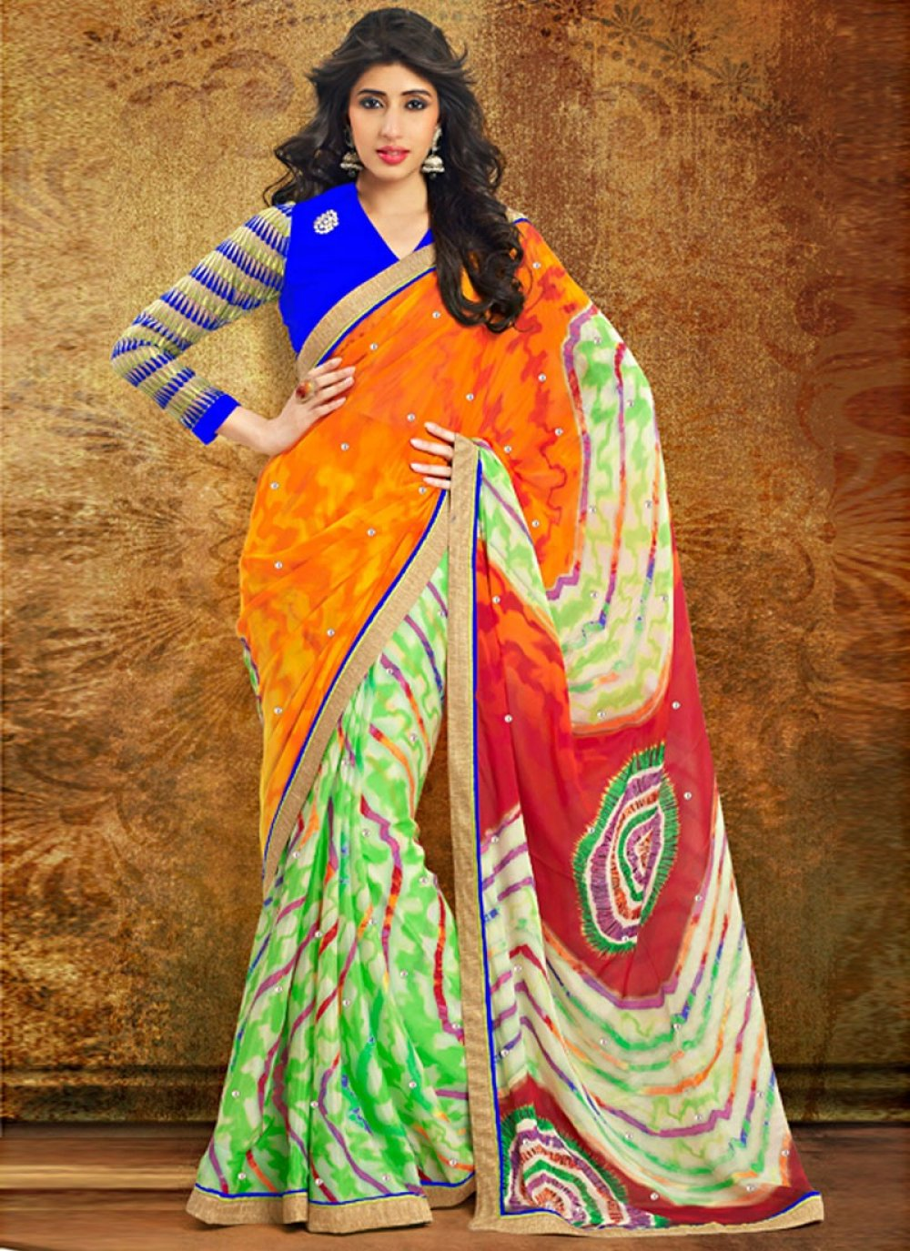Exclusively Multicolor Printed Designer Saree