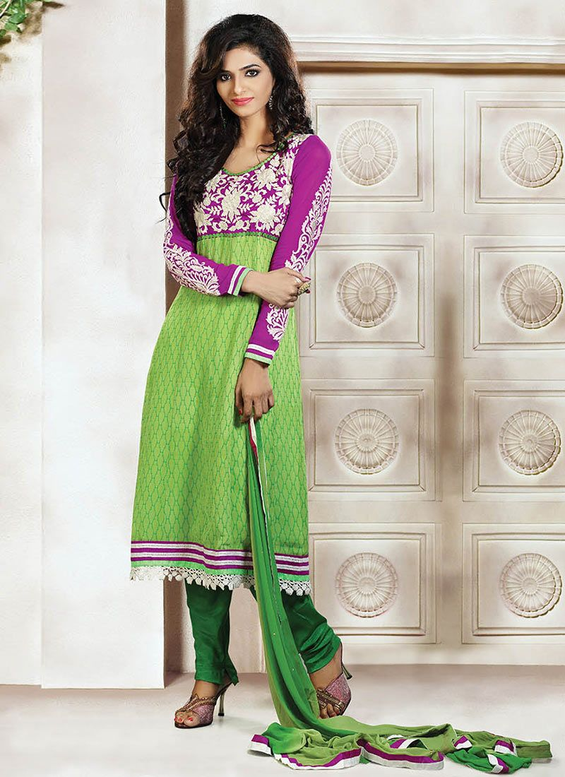 Exhilarating Green Georgette Printed Churidar Suit