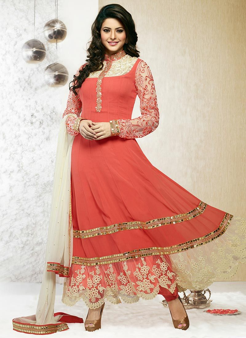 ccc56212868 Exhilarating Peach Ankle Length Anarkali Suit -