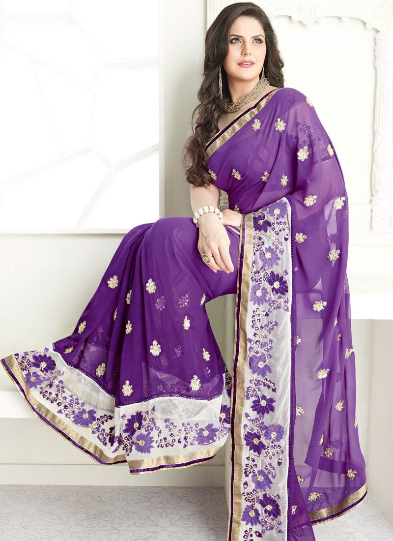 Exhilarating Purple Faux Georgette Saree