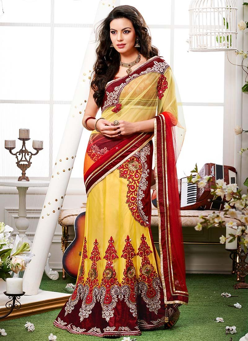 Exhilarating Red Embroidered Net Lehenga Saree
