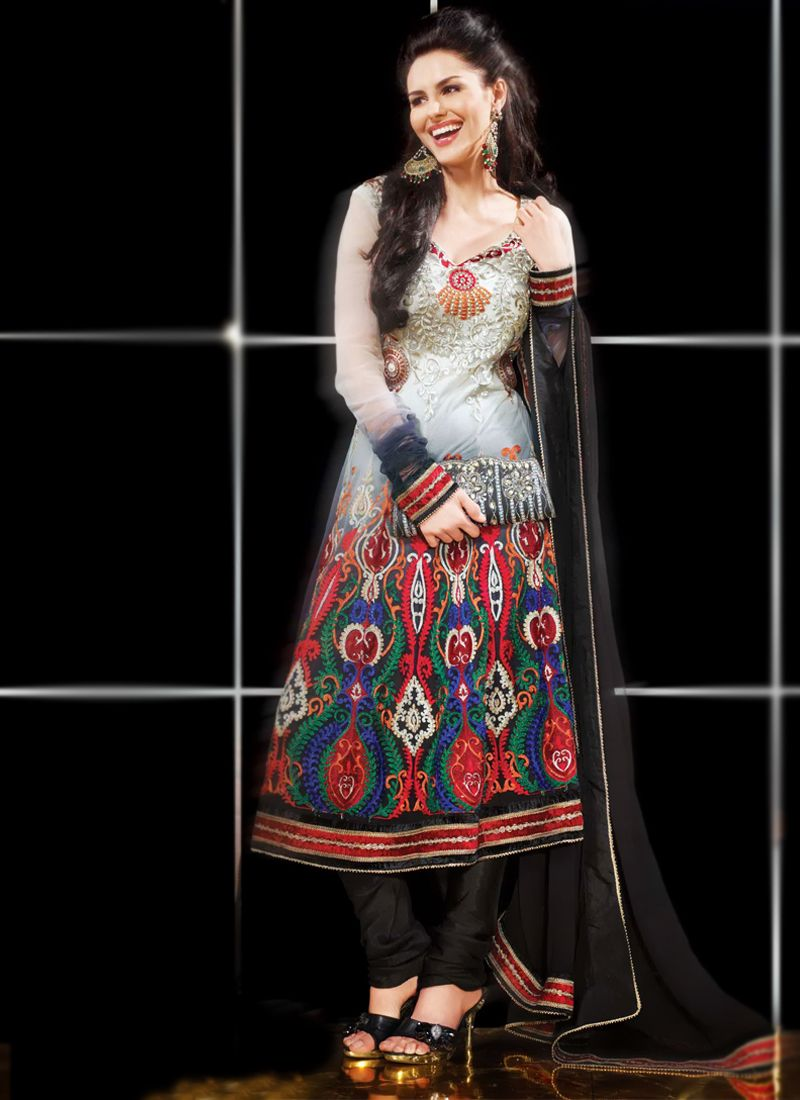 Ash Gray & Black Anarkali Suit