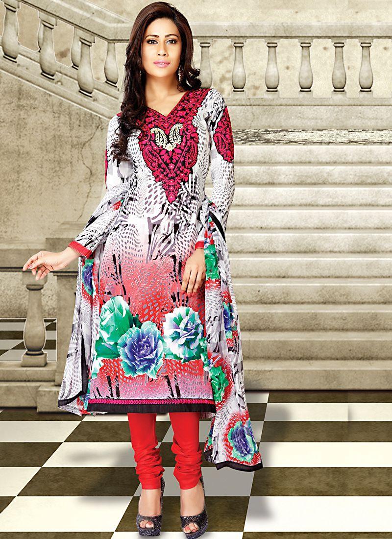Bick Red & White Salwar Kameez