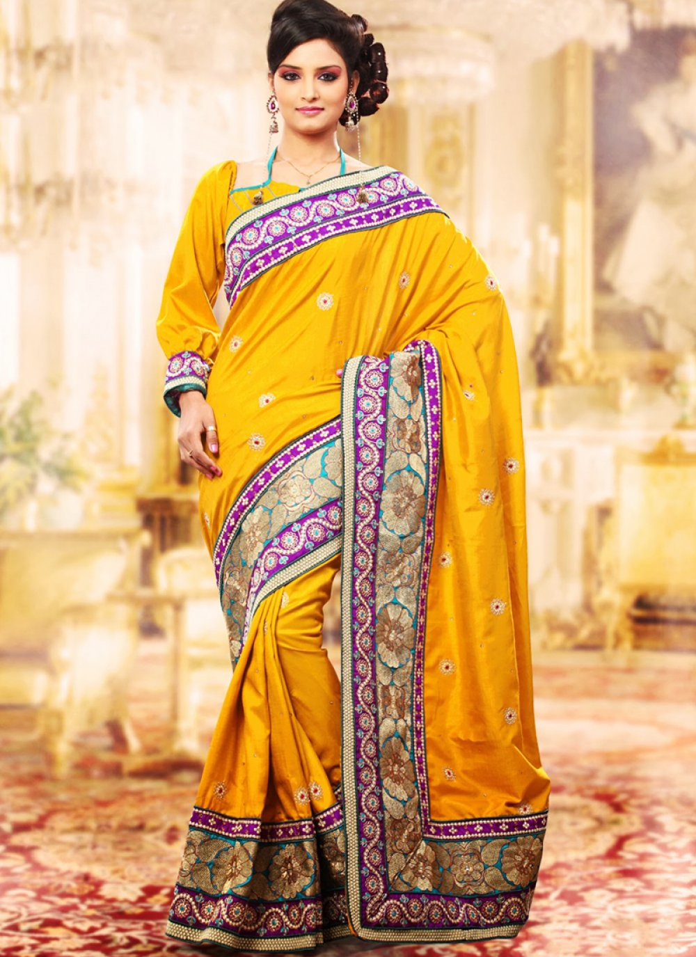 Gold Color Embroidered Saree