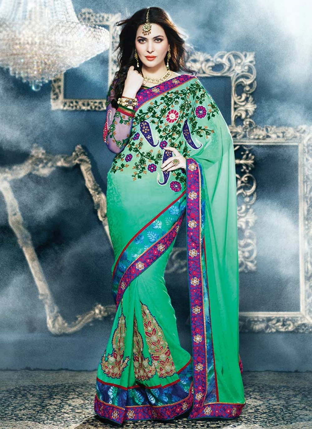 Green Appliques Worked Faux Georgette Saree