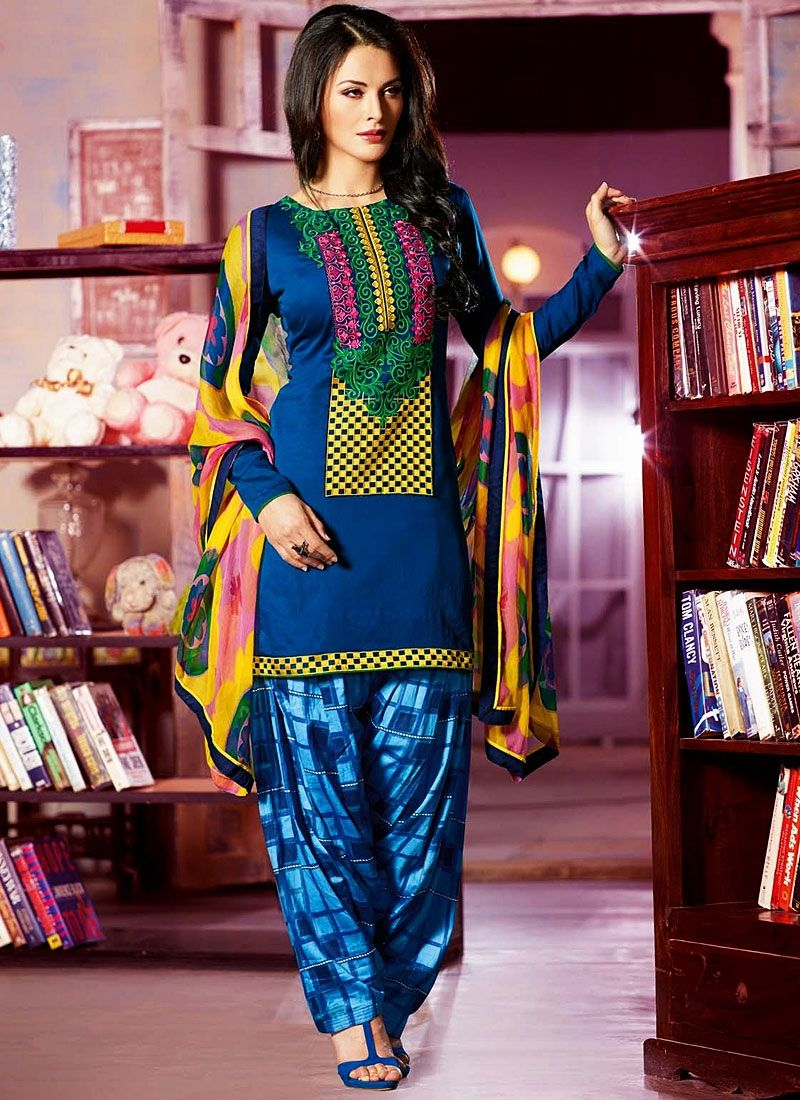 Kick Movie Blue Cotton Salwar Kameez