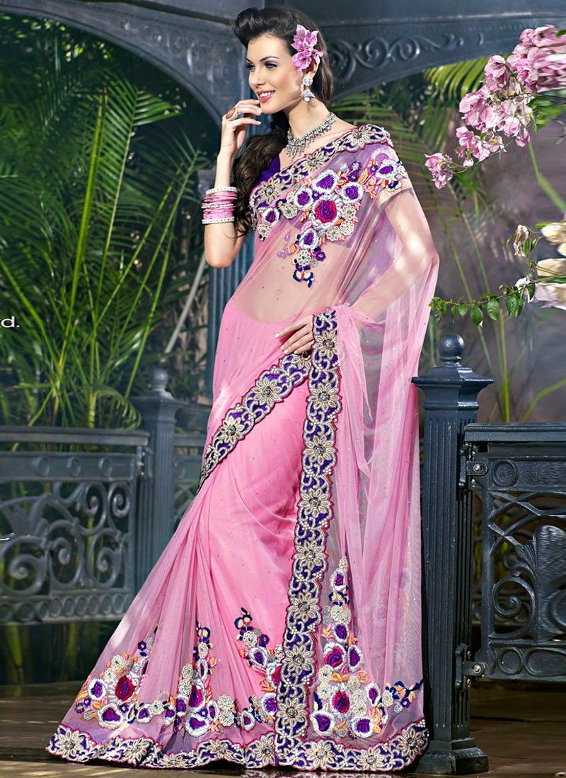 Mistyrose Embroidered Saree