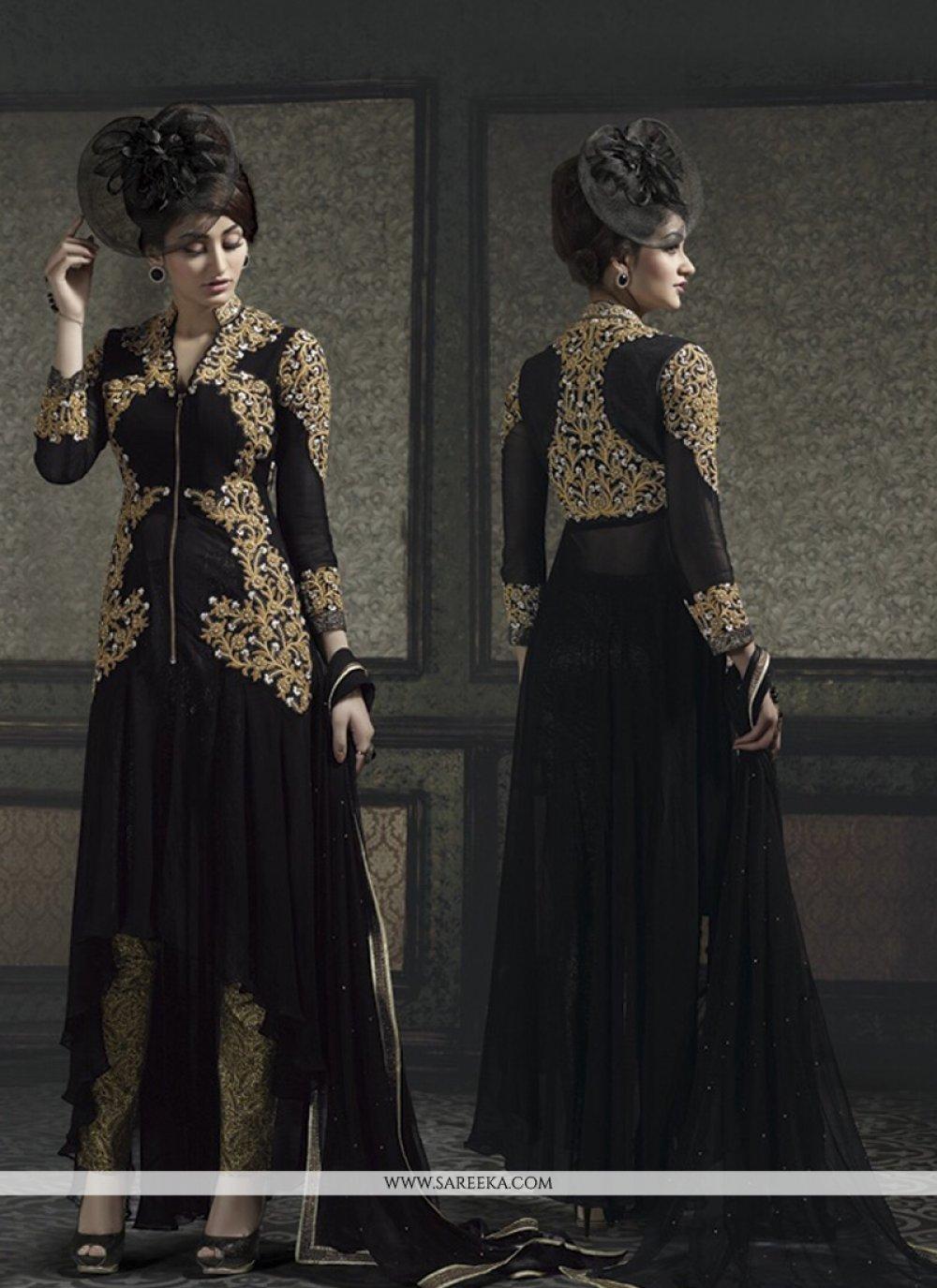 Resham Work Black Designer Salwar Kameez