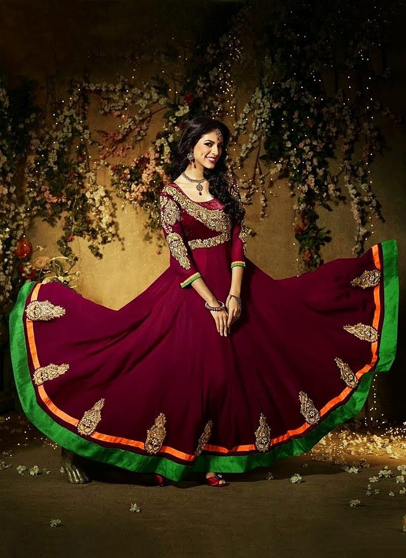Wine Faux Georgette Anarkali Suit