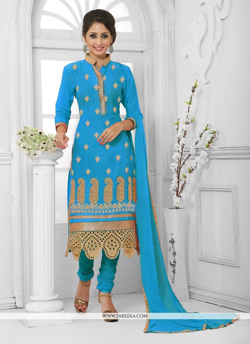 Zari Work Churidar Designer Suit