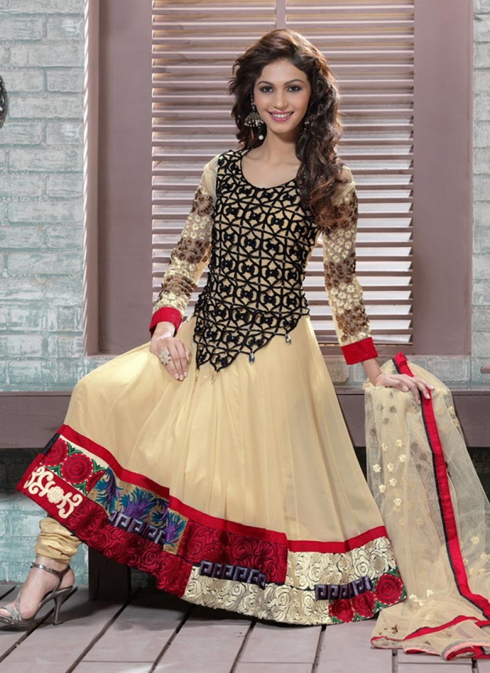Bige Brown Anarkali Suit