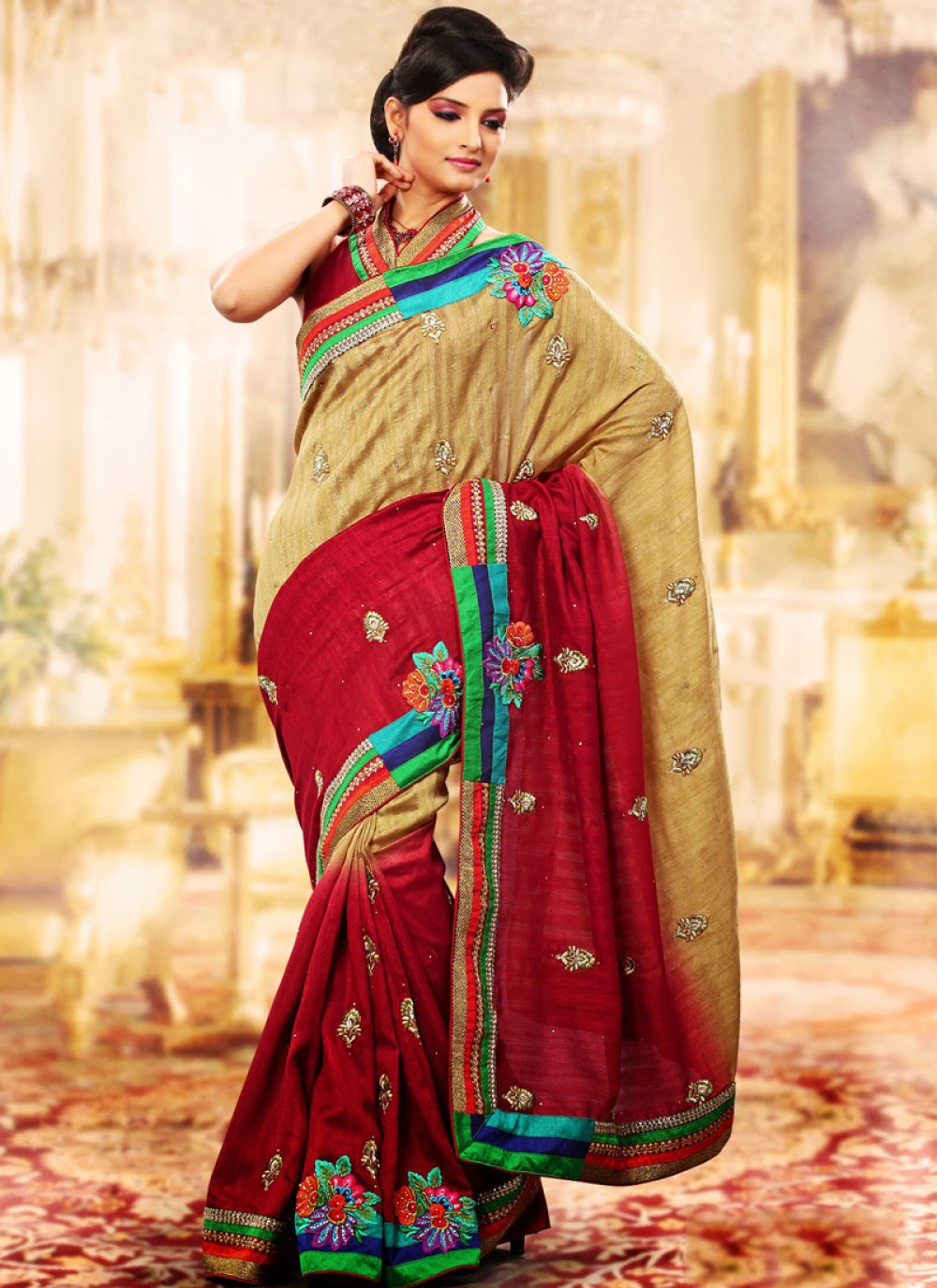 Bige Brown & Burgundy Embroidered Saree