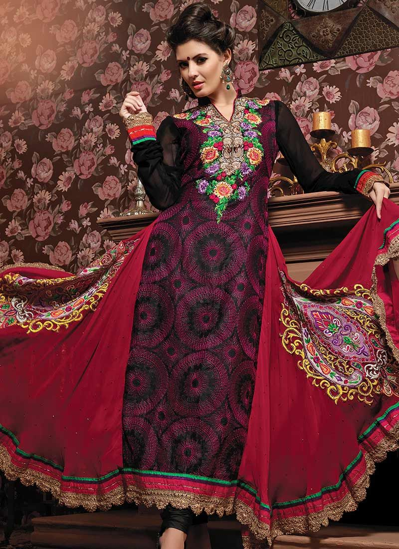 Black And Red Anarkali Suit