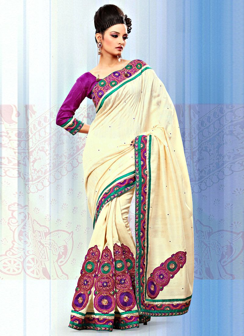 Cream Art Bhagalpuri Jacquard Silk Saree