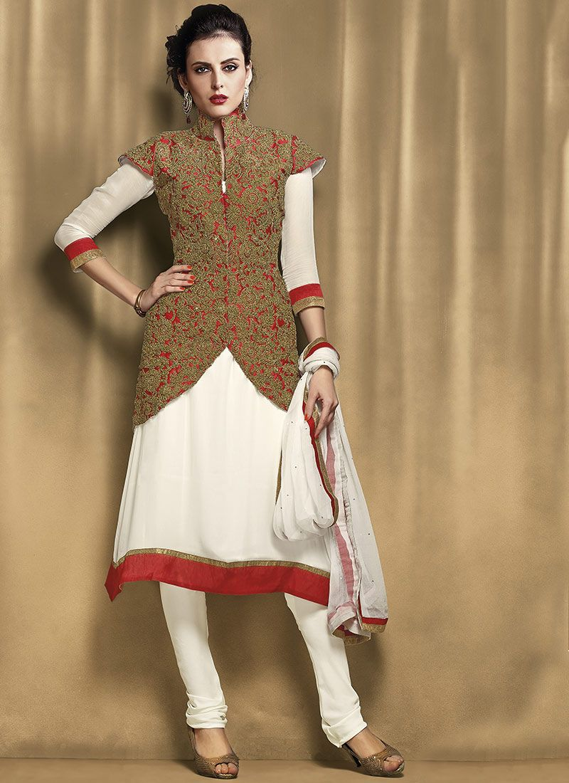 a187b37127 Cream Embroidered Churidar Suit -