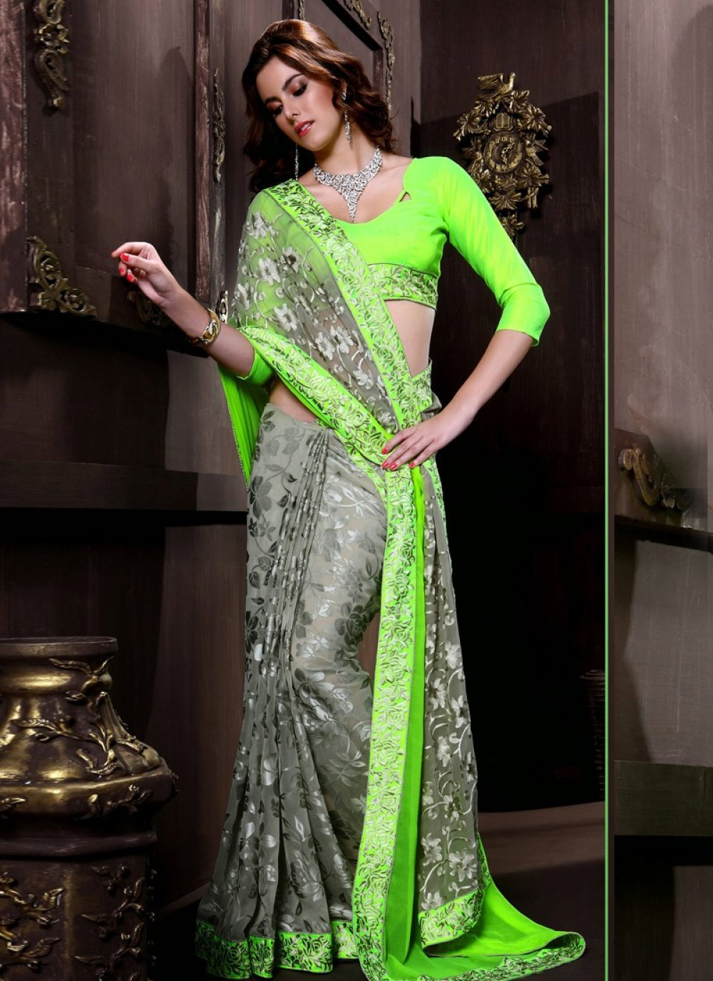 Green And Grey Floral Work Half And Half Saree