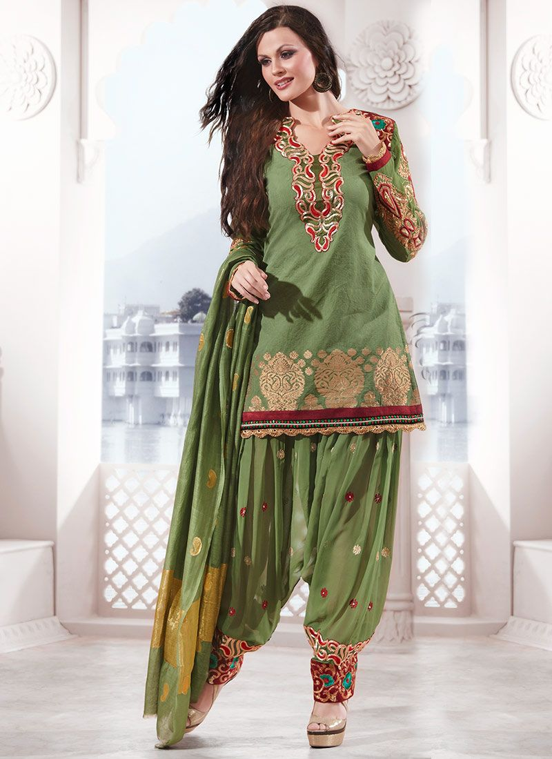 Green Silk Cotton Salwar Suit