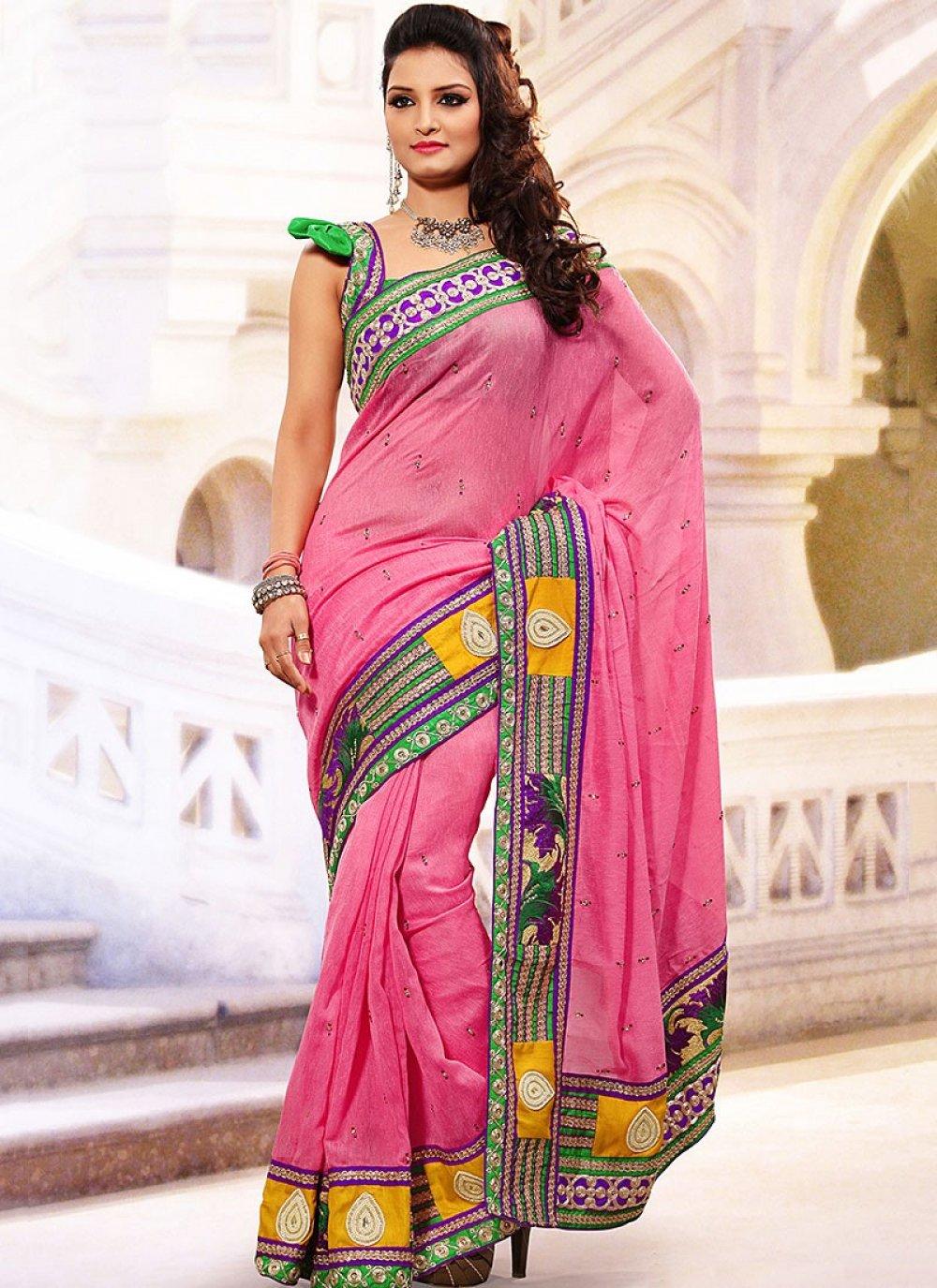 Hot Pink Linen Jute Silk Saree