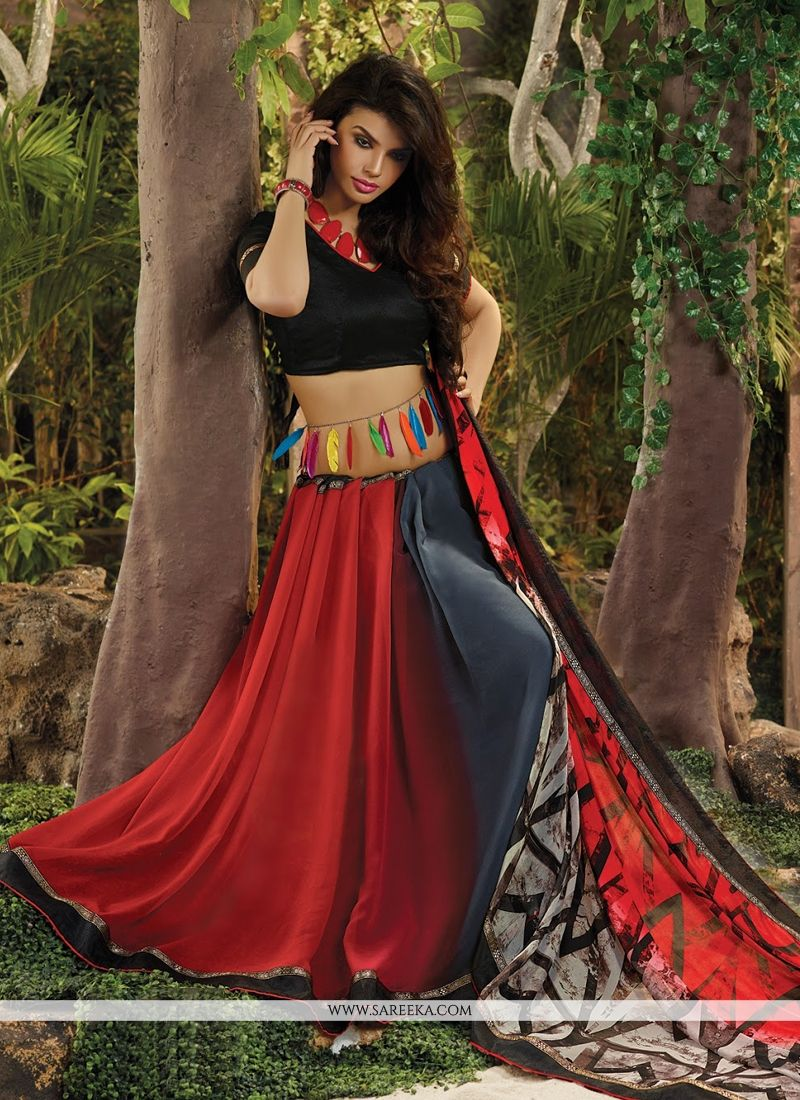 Lace Work Red Casual Saree