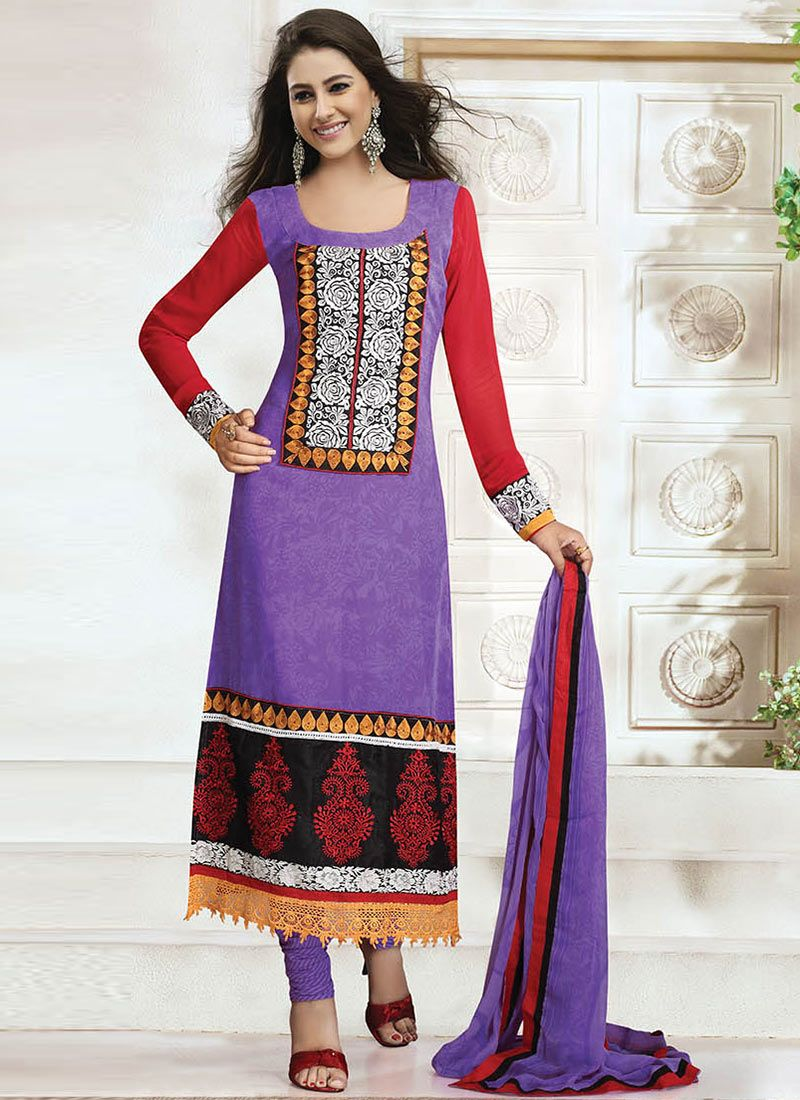Lavender Georgette Churidar Suit