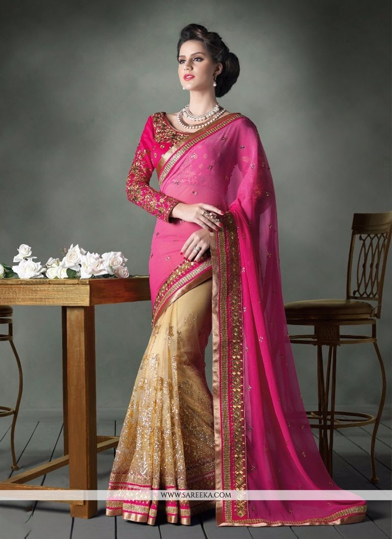 Net Cream and Hot Pink Resham Work Designer Saree