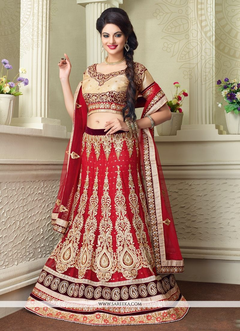 Red Zari Work Net A Line Lehenga Choli