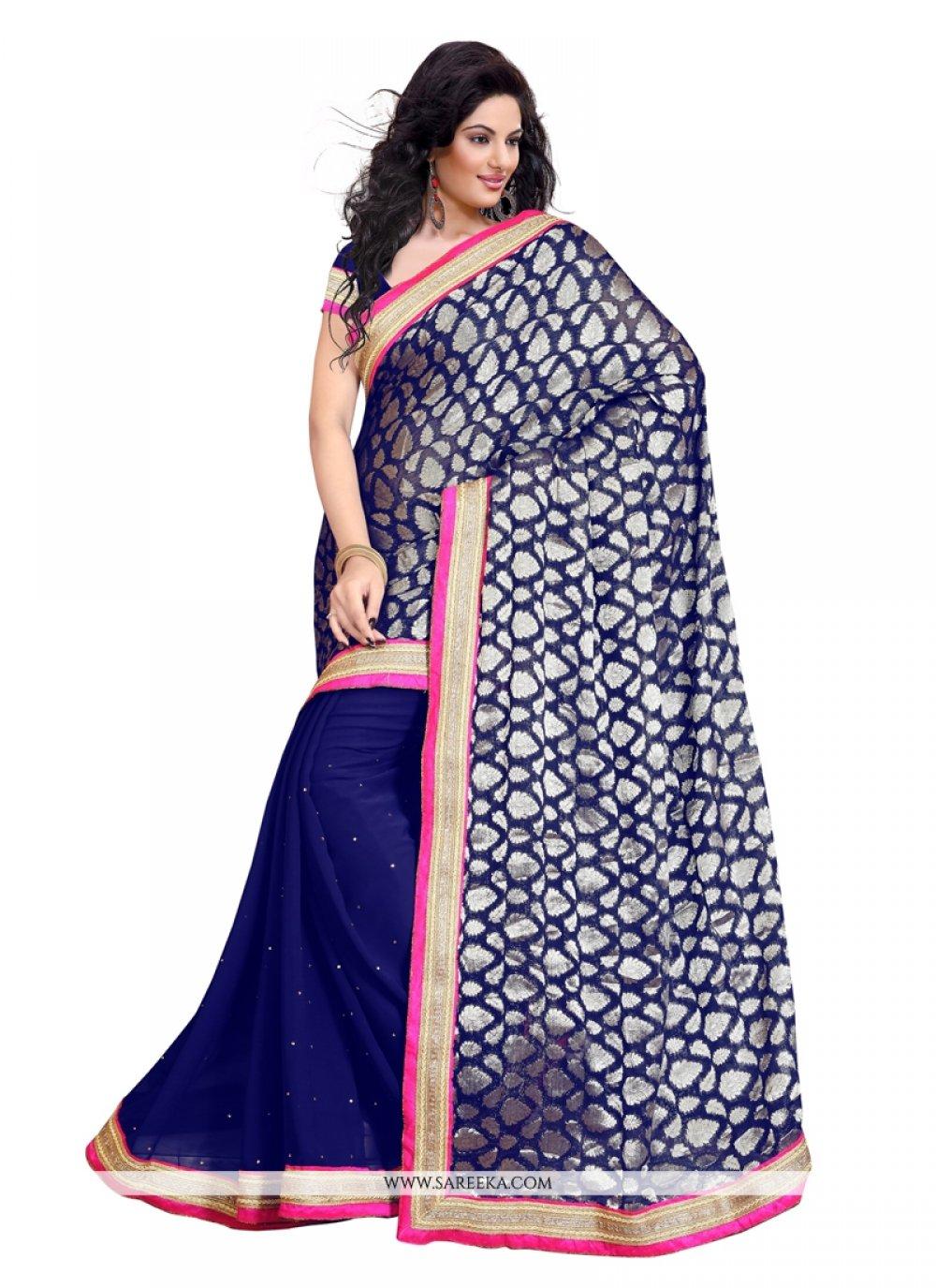 Blue Embroidered Work Viscose Designer Saree