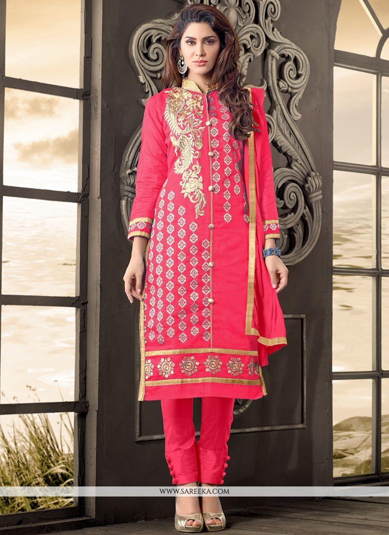Cotton   Hot Pink Embroidered Work Designer Salwar Kameez