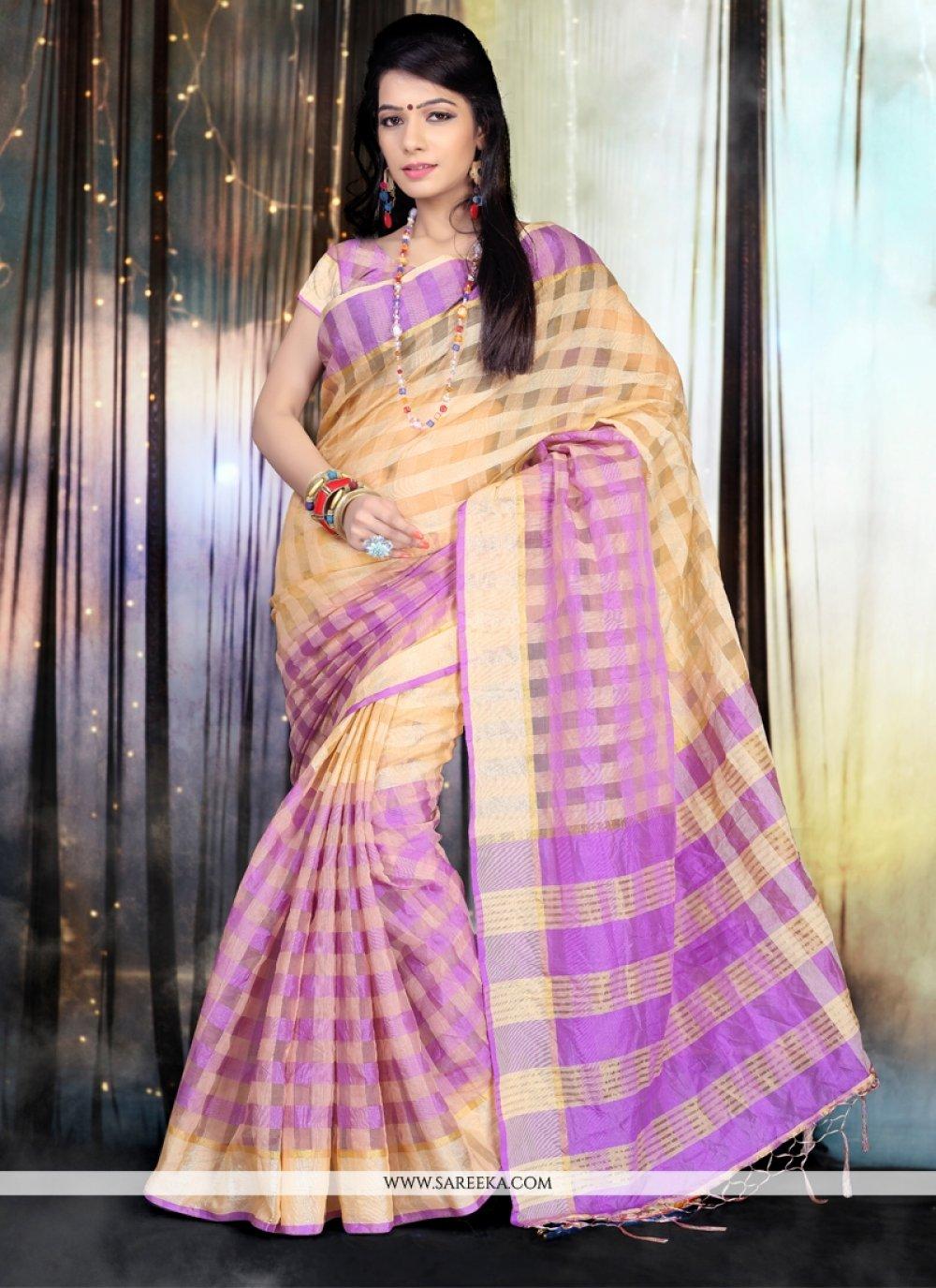 Cotton   Patch Border Work Designer Saree