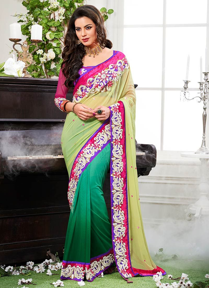 Green And Yellow Half And Half Saree