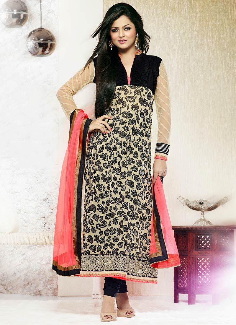 Madhubala Beige Printed Churidar Suit