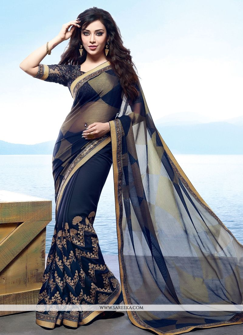 Navy Blue Embroidered Work Designer Saree