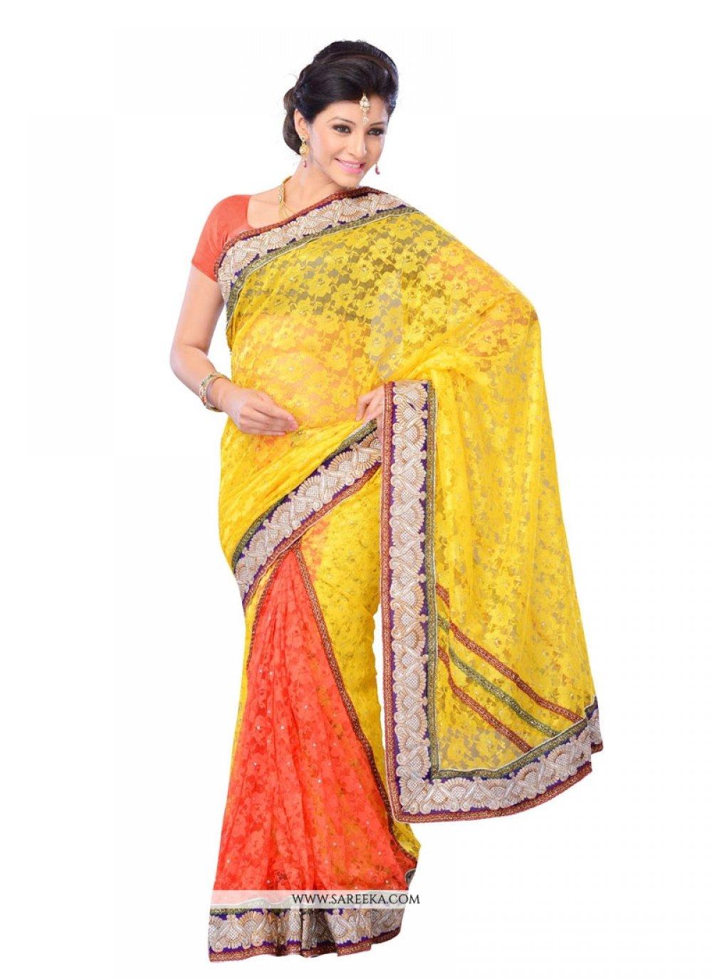 Net Embroidered Work Designer Saree