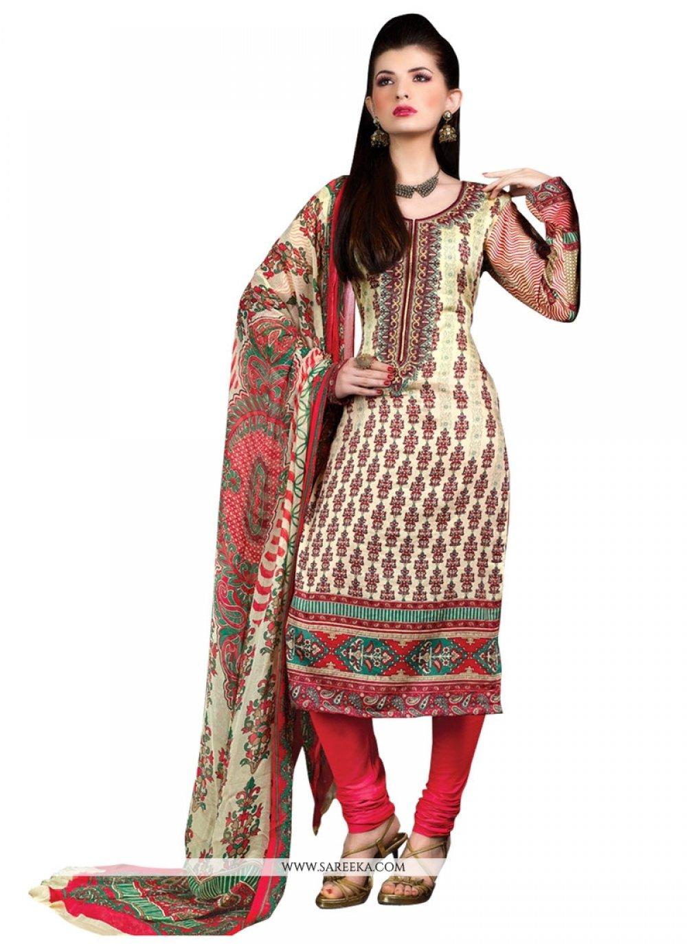 Print Work Cotton Satin Multi Colour Designer Suit