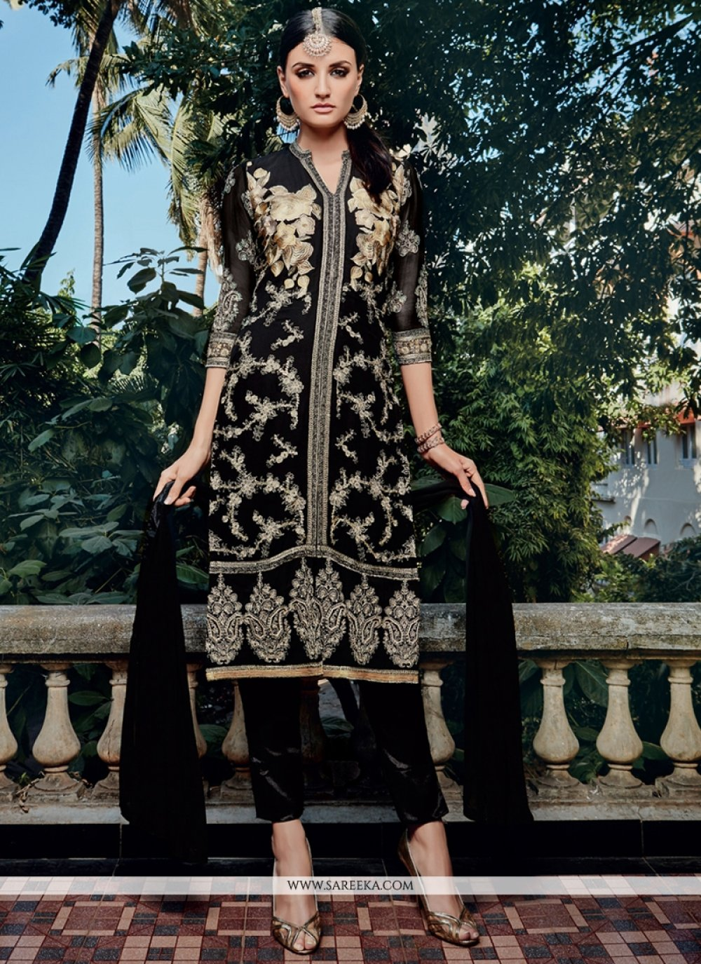 Resham Work Black Georgette Pant Style Suit