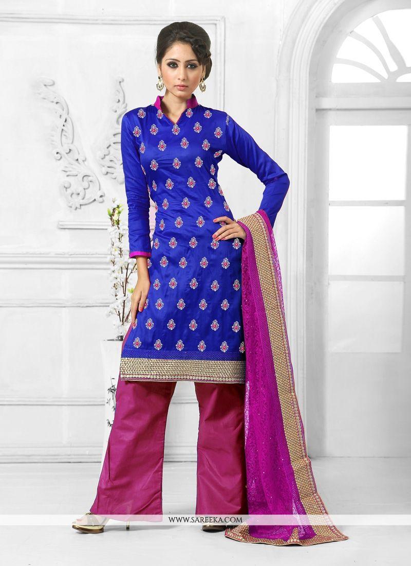 Resham Work Blue Designer Palazzo Salwar Kameez