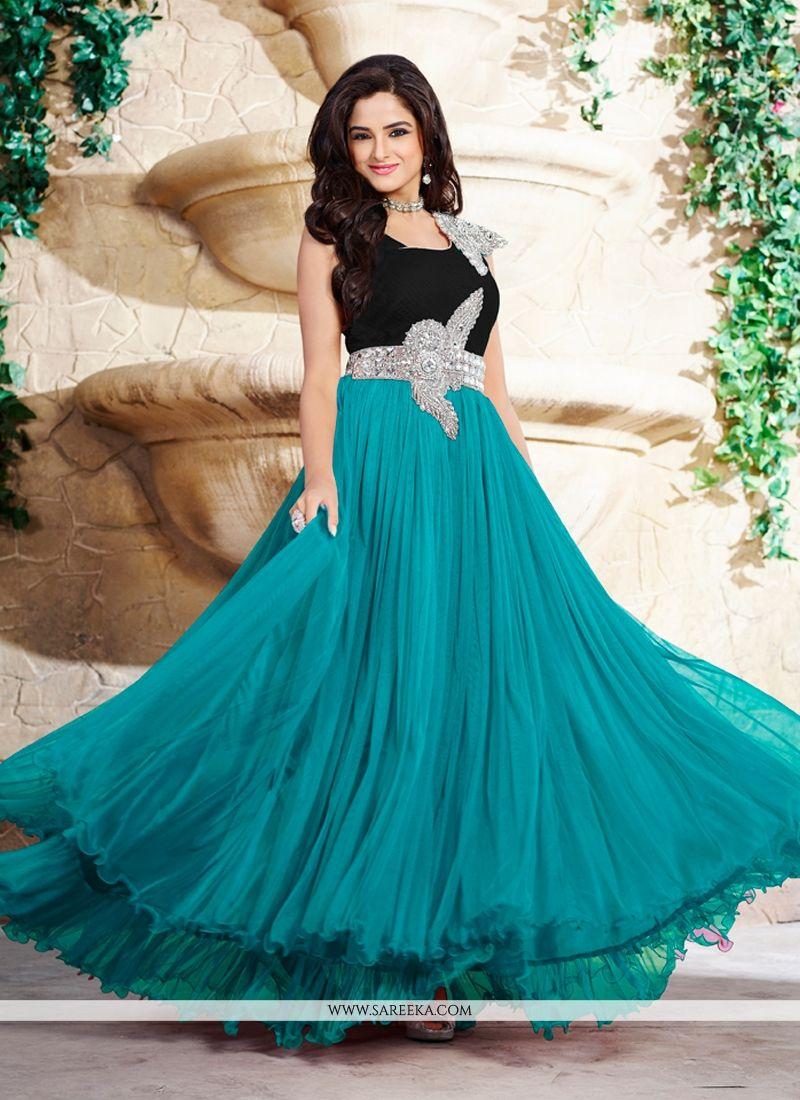 Satin Stone Work Designer Gown -