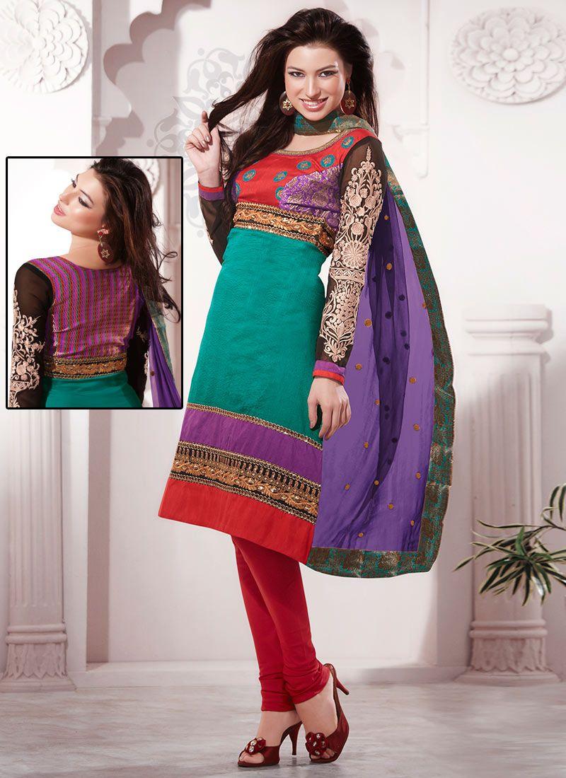 Teal Chanderi Silk Churidar Suit