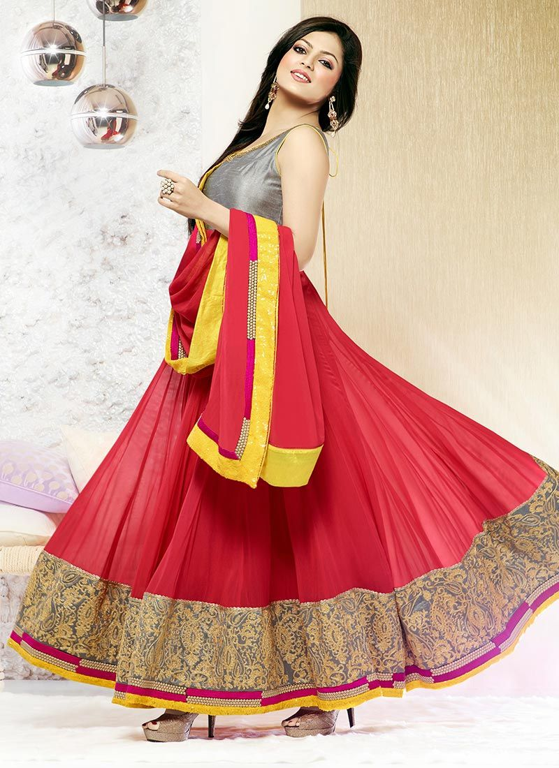 Extravagant Madhubala Red Ankle Length Anarkali Suit