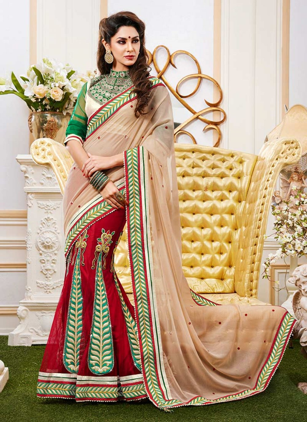 Extravagant Red And Beige Chiffon Net Lehenga Saree