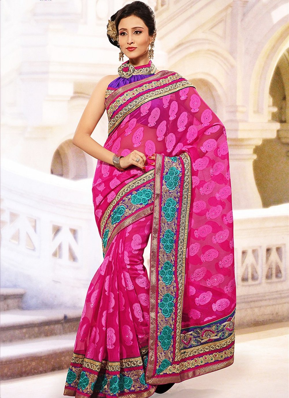 Extremly Pink Stylish Kota Jacquard Saree
