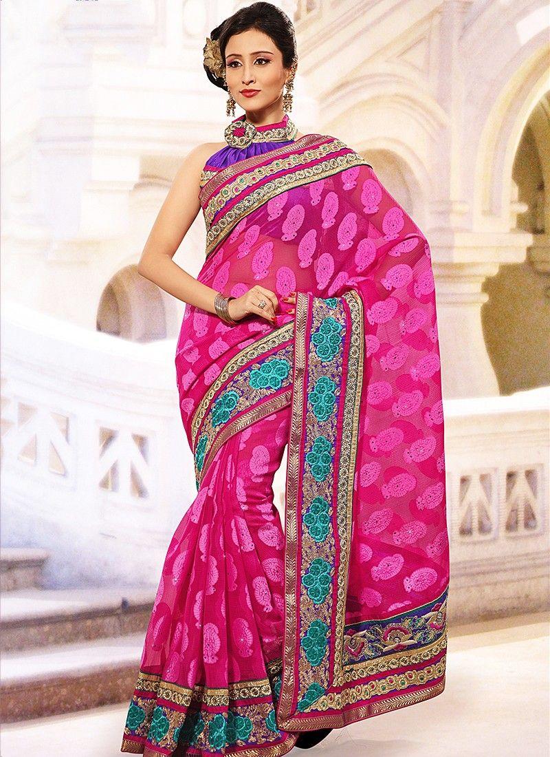 Extremly Pink Stylish Kota Jacquard Saree