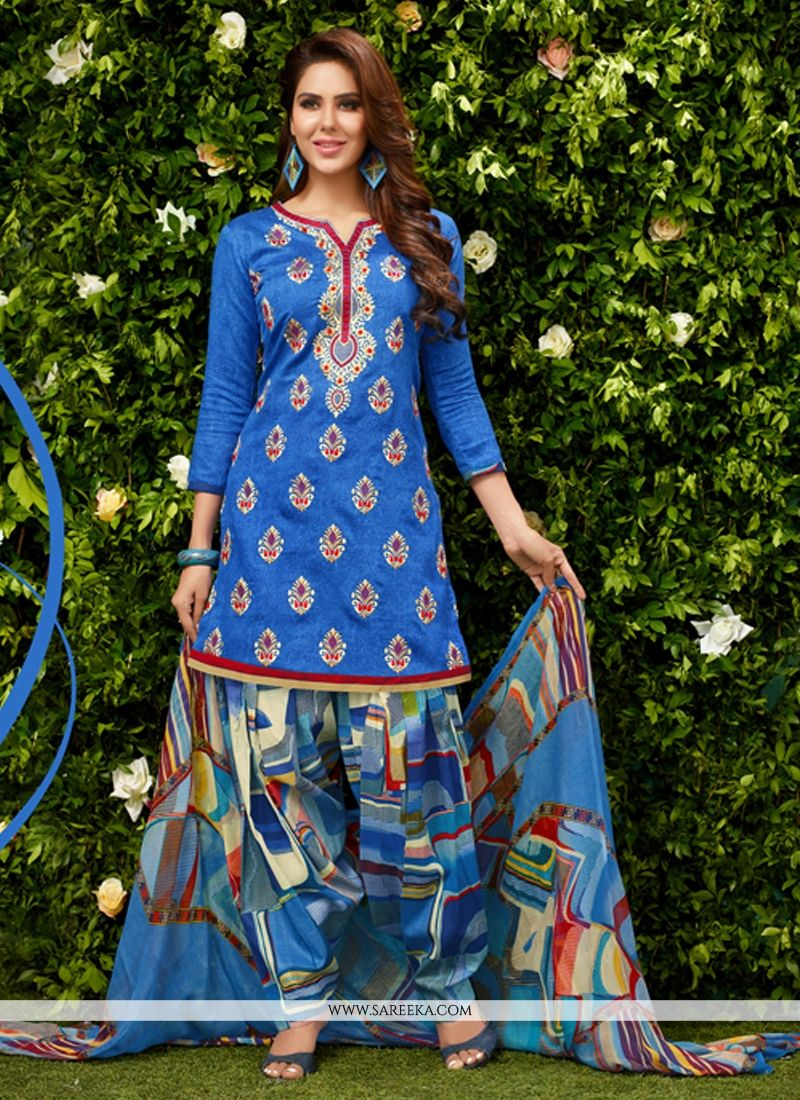 Blue Designer Patiala Suit
