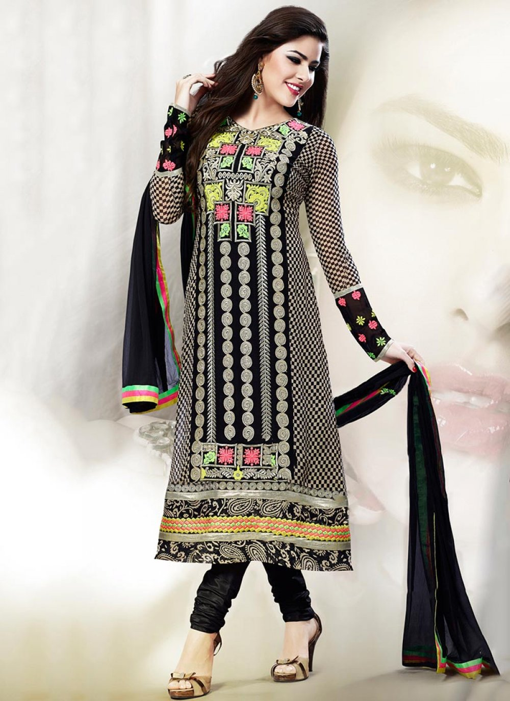 Embroidered Georgette Churidar Suit
