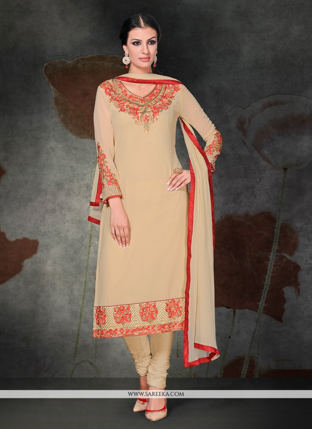 Georgette Cream Embroidered Work Churidar Salwar Kameez