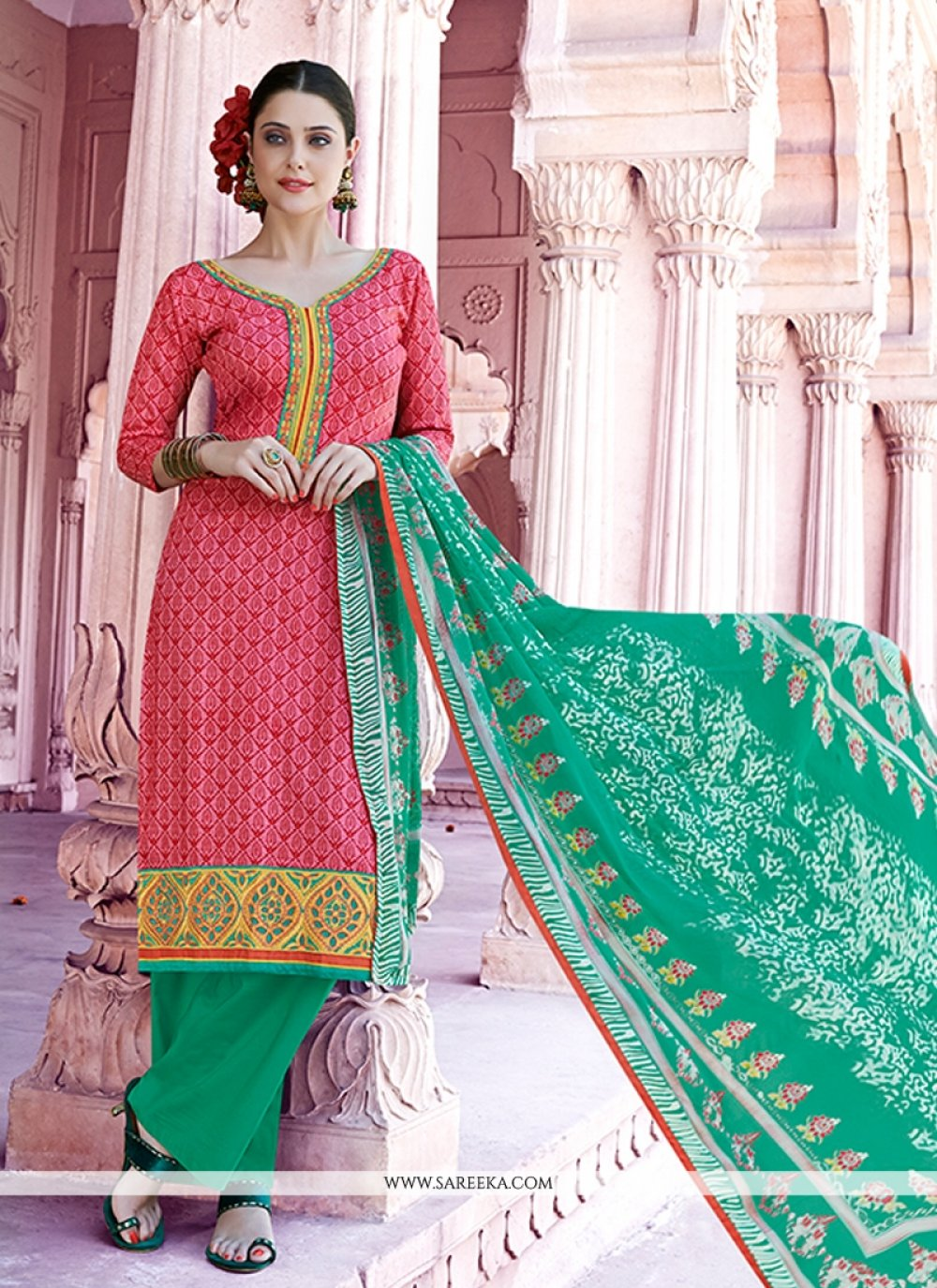 Lace Work Hot Pink Designer Pakistani Suit