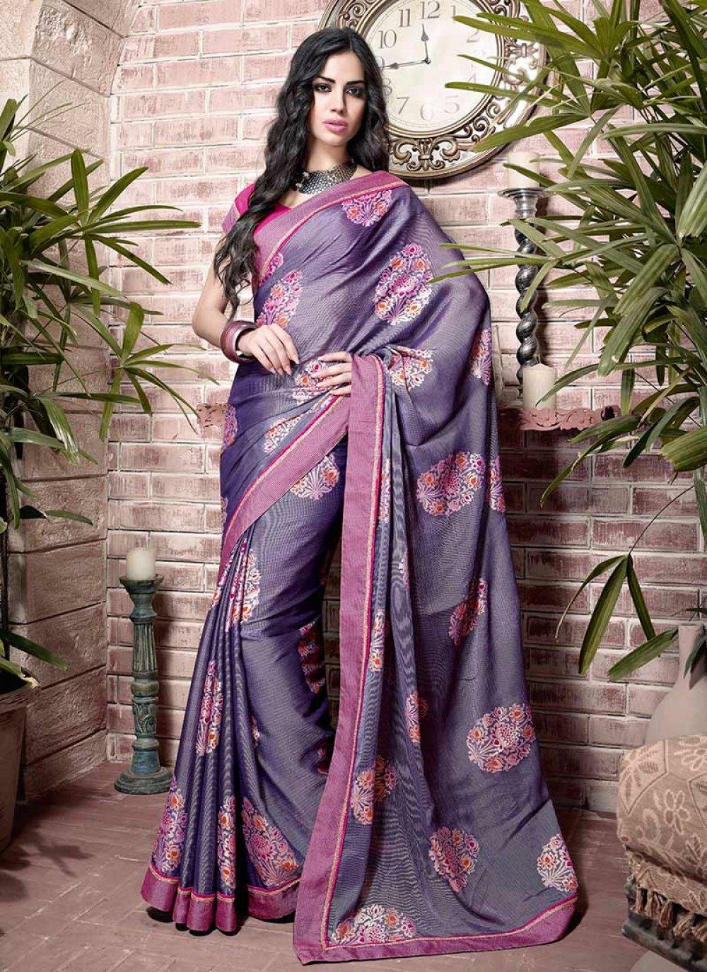 Purple Patch Border Work Art Silk Saree