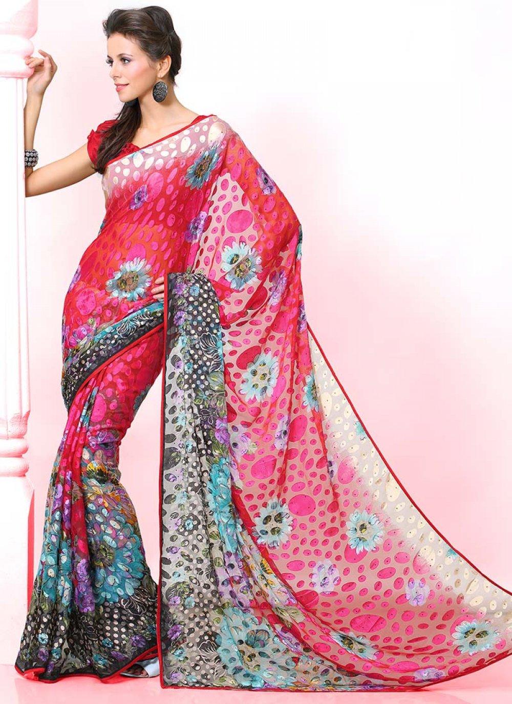 Red Printed Saree