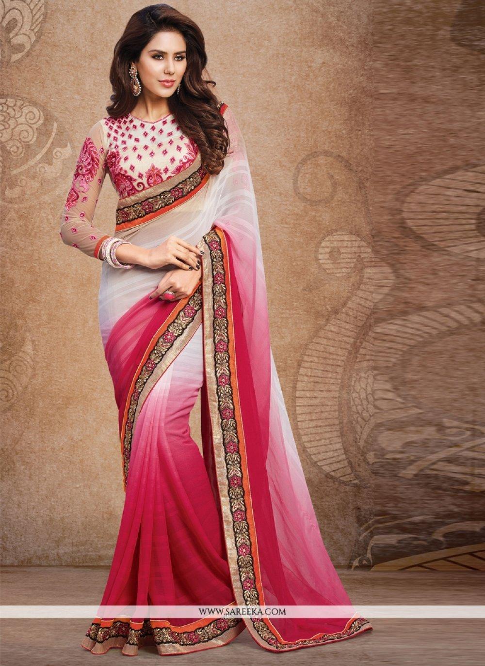 Faux Chiffon Pink and White Designer Saree